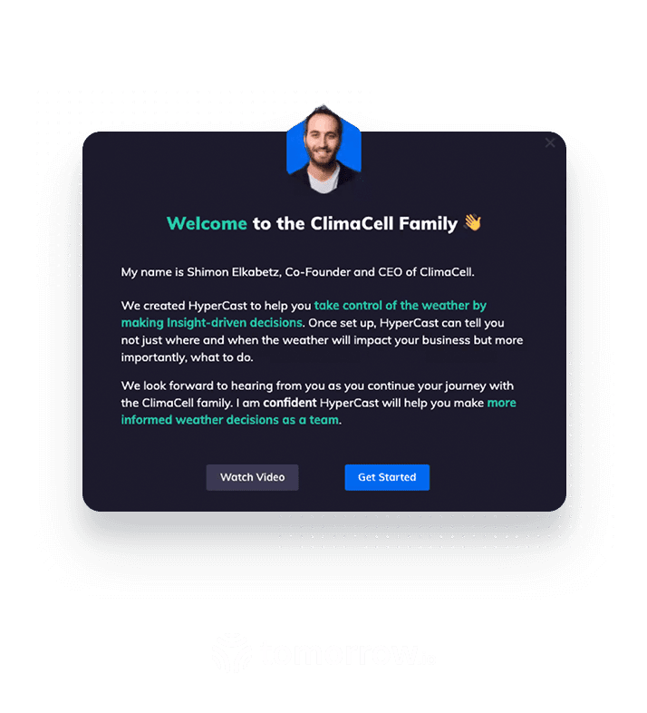 Tomorrow.io modal created within Appcues