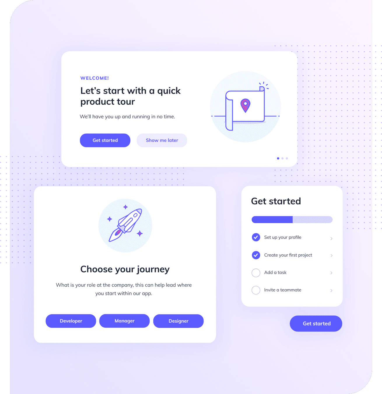 Image of a two onboarding modals and an onboarding checklist