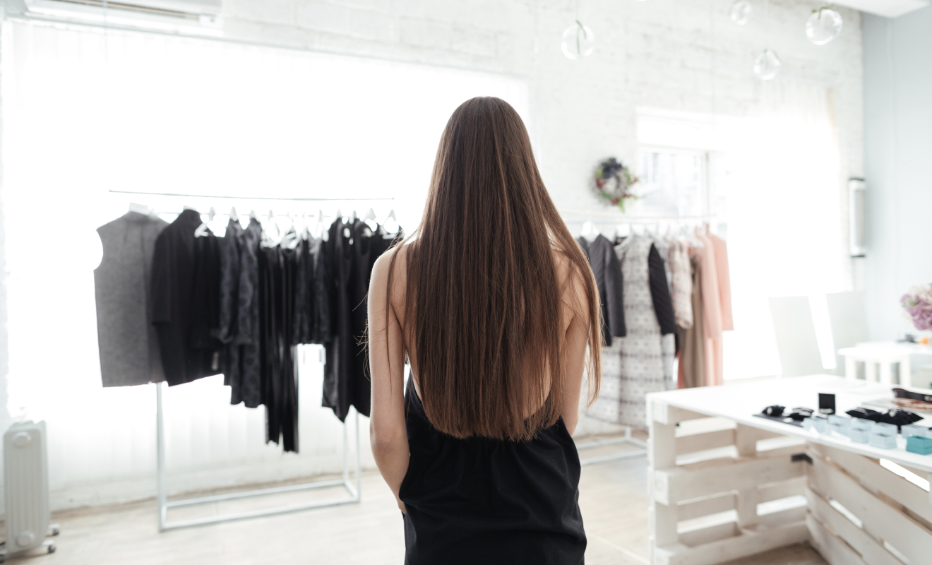 Lady's back in a clothing store image