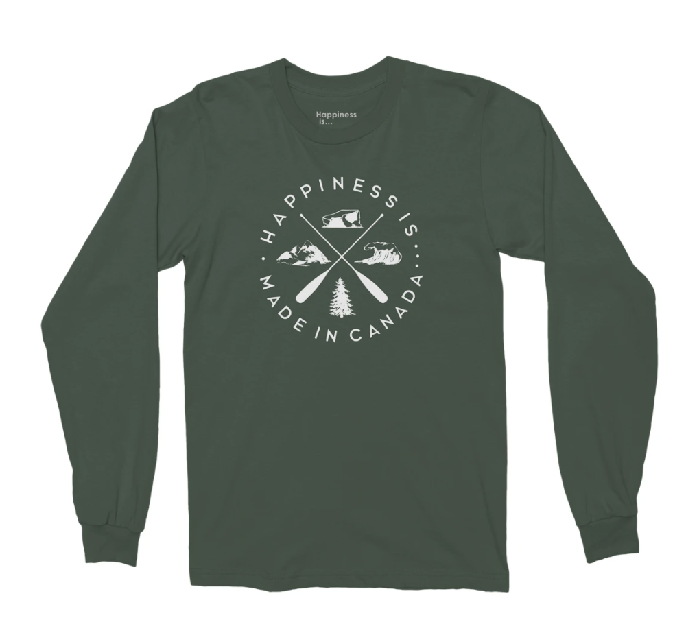 Happiness Is Men's Crest Long Sleeve T