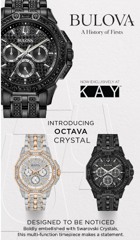 Bulova watches in black with black crystals and a silver/gold with clear crystals