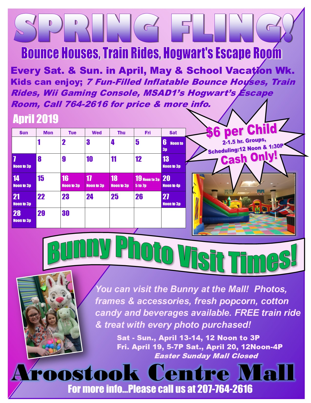 Aroostook Centre Mall information for Spring Fling with picture of a Bunny and Bounce House