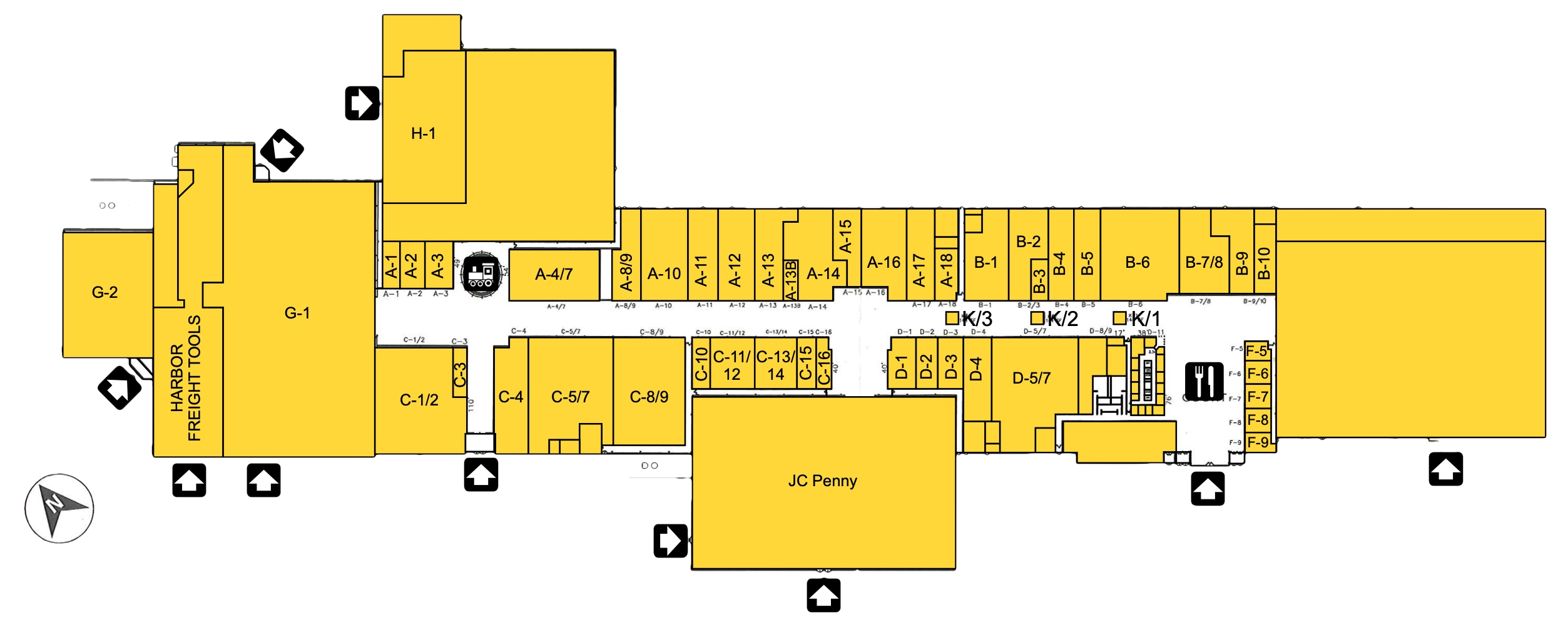Map of the stores in Aroostook Centre Mall