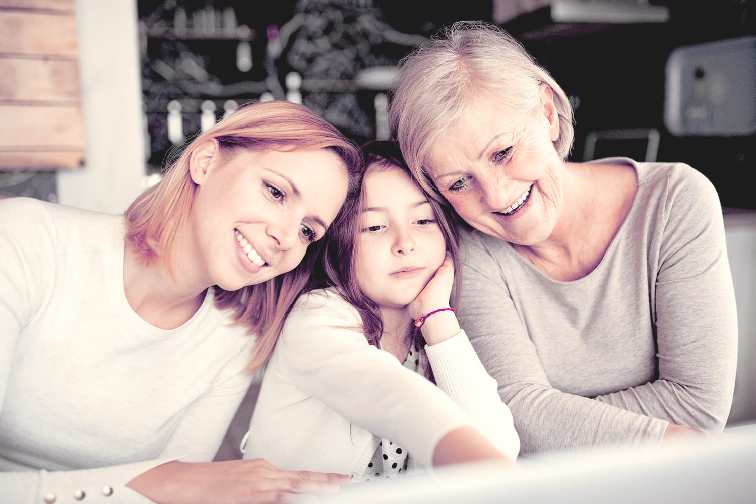 Photo of girl, mother and grandmother