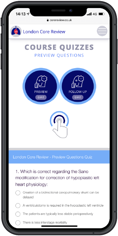 London Core Review Cardiothoracic Surgery Course -  Video & Quiz Laptop Medical Educational Web App Image - Mobile Quiz Layout