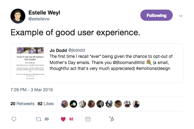 """A tweet that says, """"example of good user experience"""""""