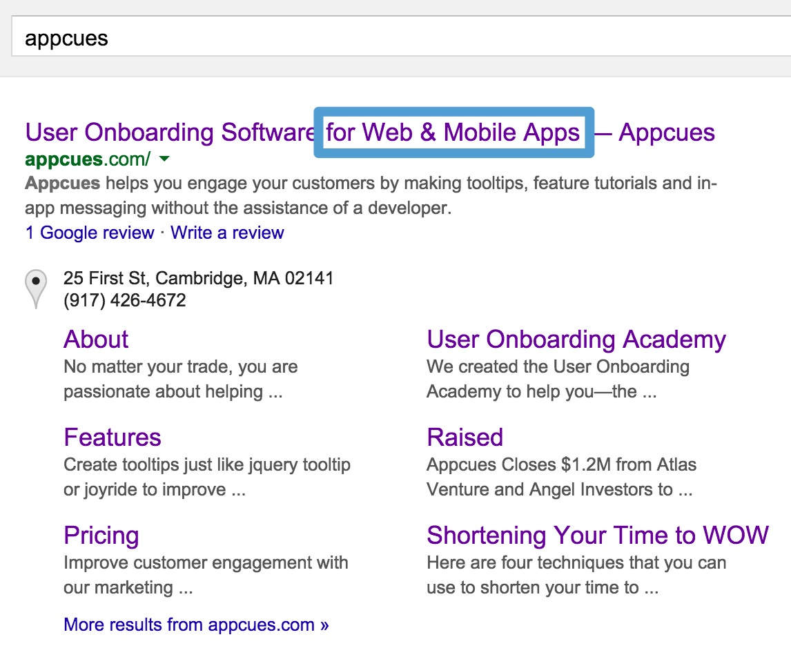 appcues google search results