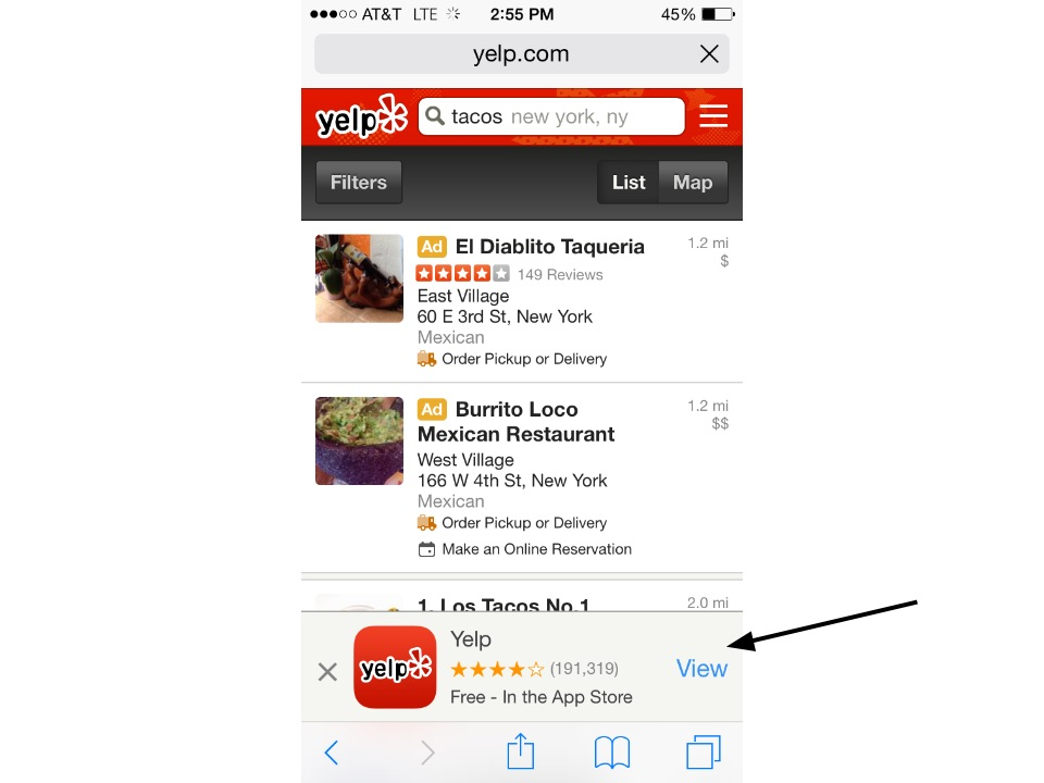 Yelp device detection app promotion