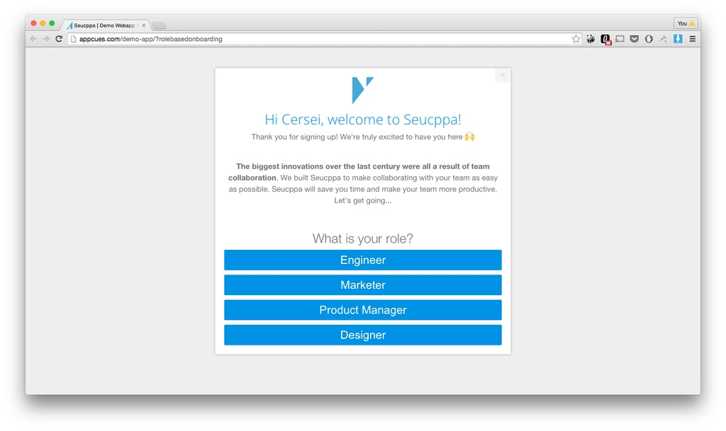 Personified user onboarding with Appcues