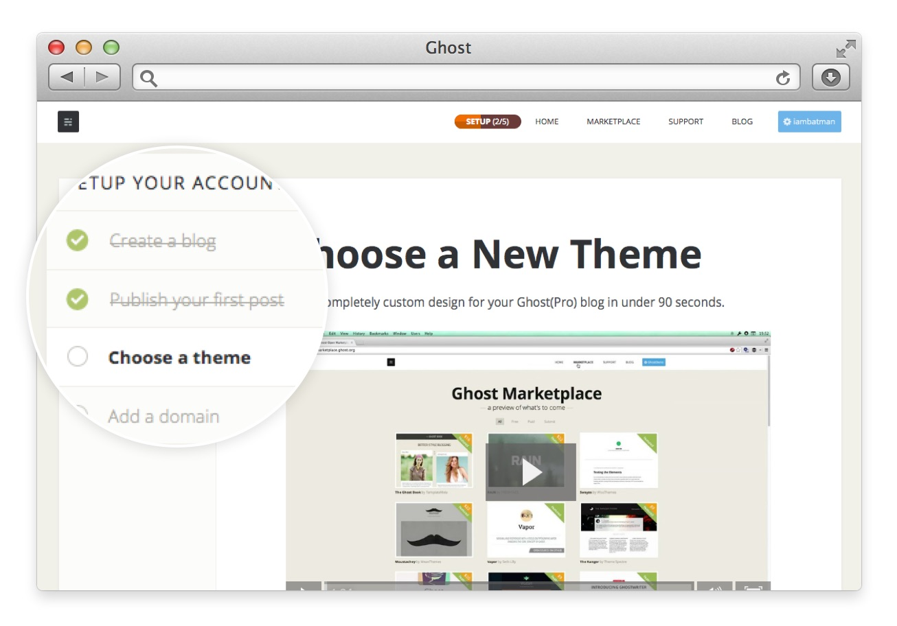 This is a screenshot of ghost blogging platform's old interface showing user onboarding checklists and progress bar