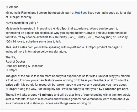 This is an example of a user testing invite email from hubspot. This email is a plain text invite to participate in user testing research.