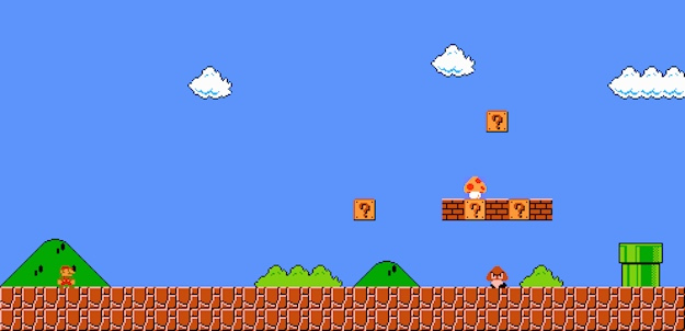 This is a screenshot of the beginning of super mario bros world 1-1 showing mario, a goomba, and a mushroom. This is an example of video game user onboarding from classic nintendo nes games.