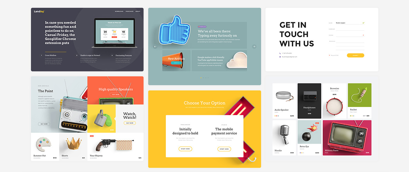 Create awesome landing pages with this free UI vector it for webpages.