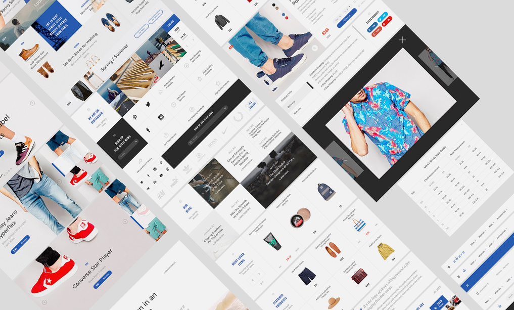 Example screenshots of free ecommerce UI kit with a clean, modern design.