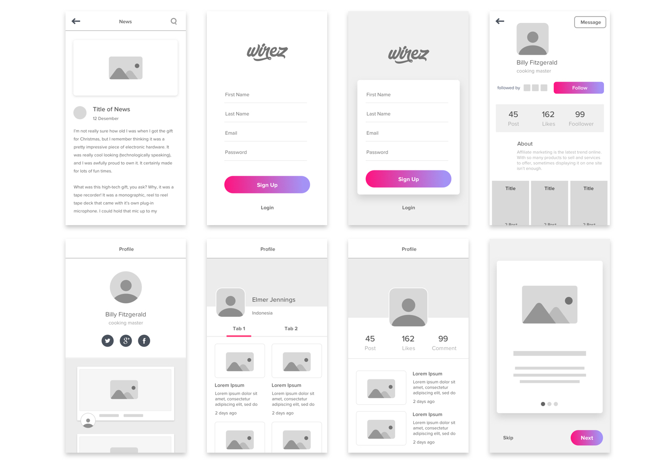 Free wireframe kit for making app wireframes. Low-fidelity wireframe kit with 64 sceens.