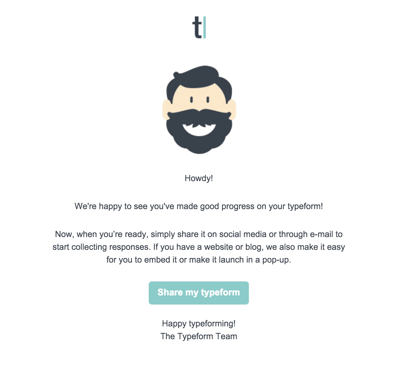 Typeform user onboarding email