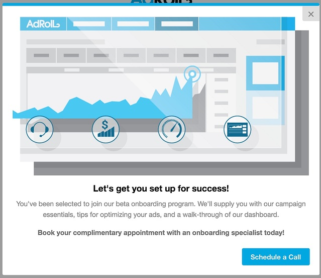 AdRoll beta onboarding program modal