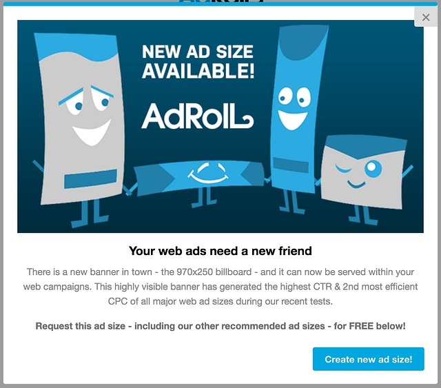 AdRoll new ad format feature adoption