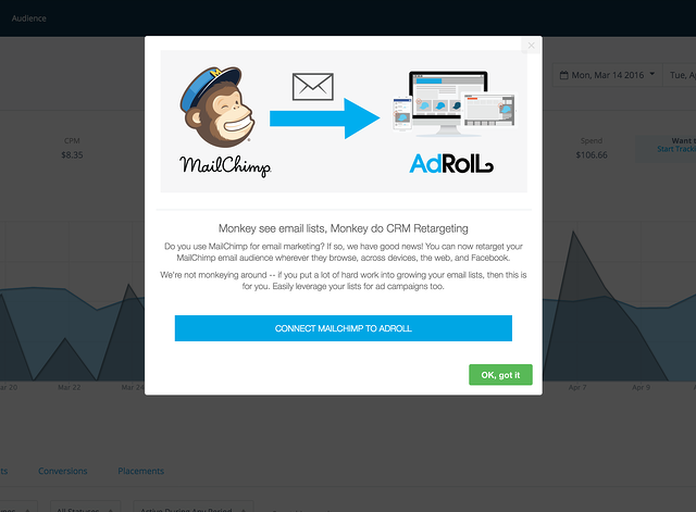 AdRoll MailChimp integration announcement modal via Appcues