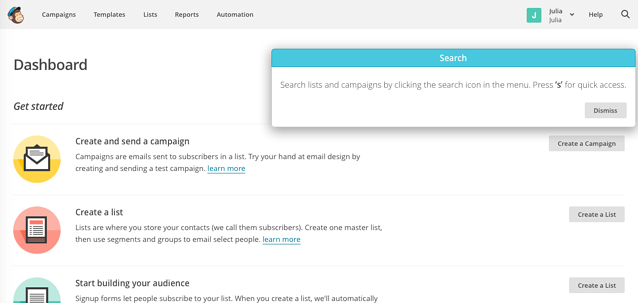 MailChimp welcome page