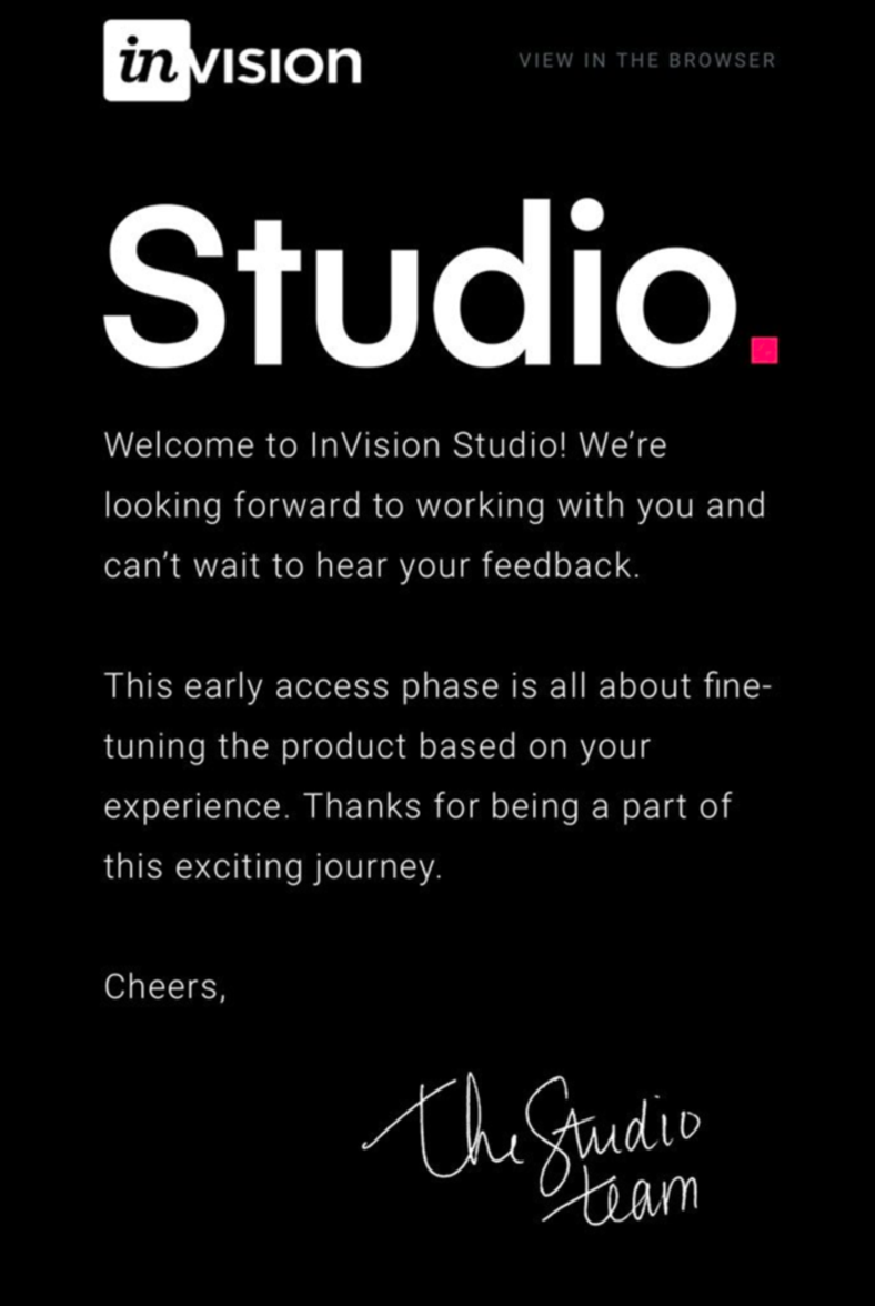 InVision's product release email for Studio