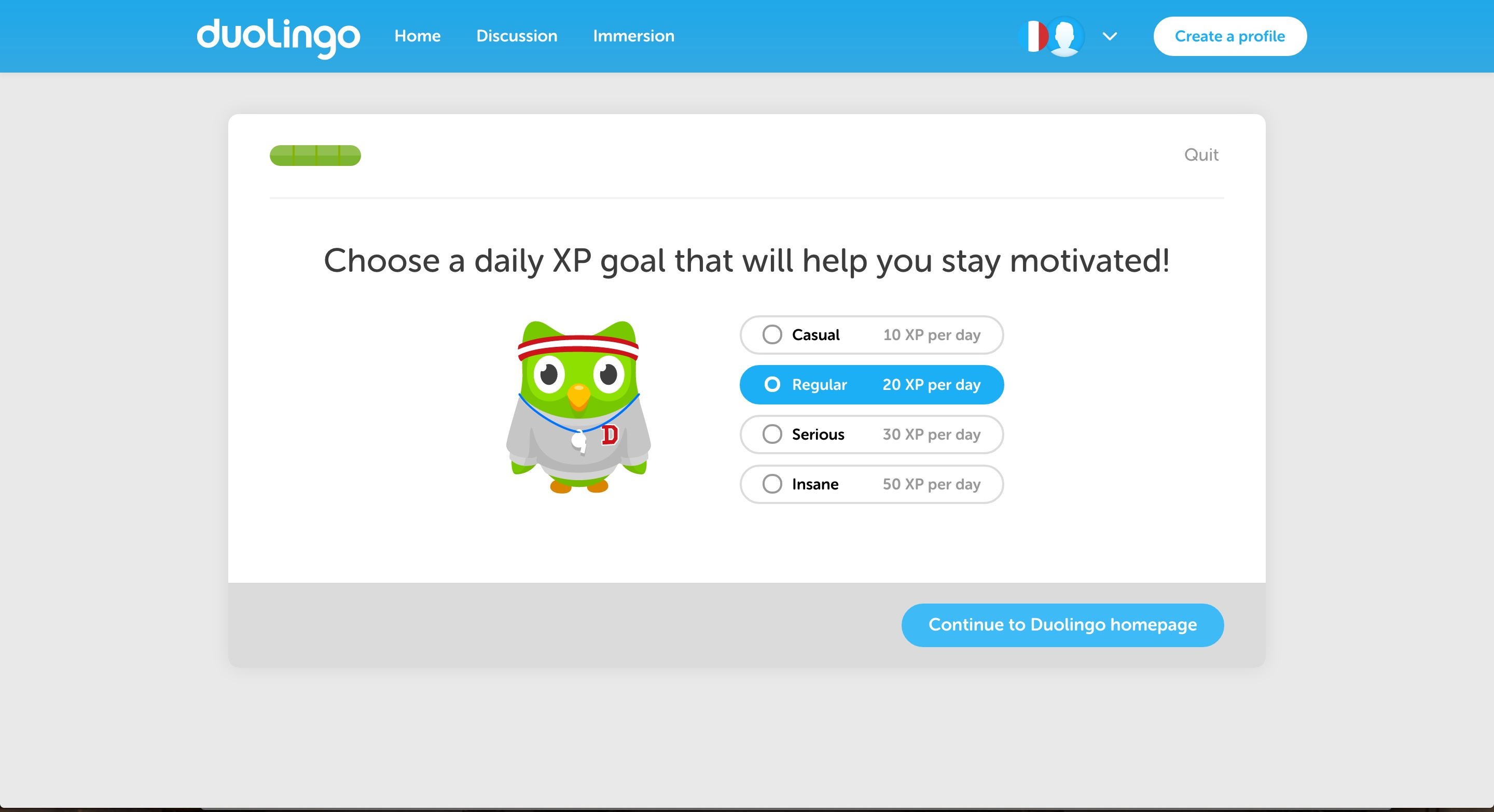 duolingo goal setting during user onboarding