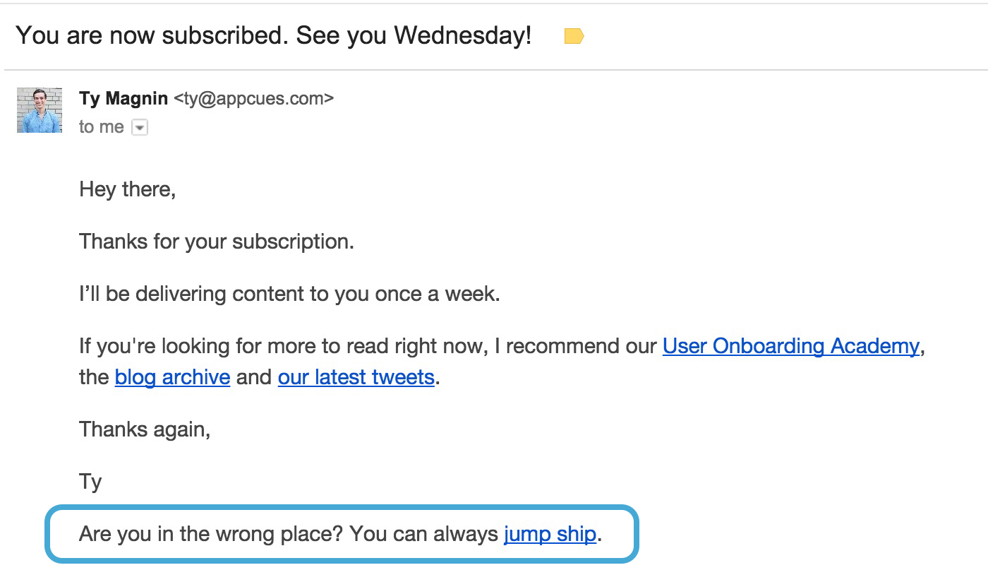 blog email with unsubscribe CTA