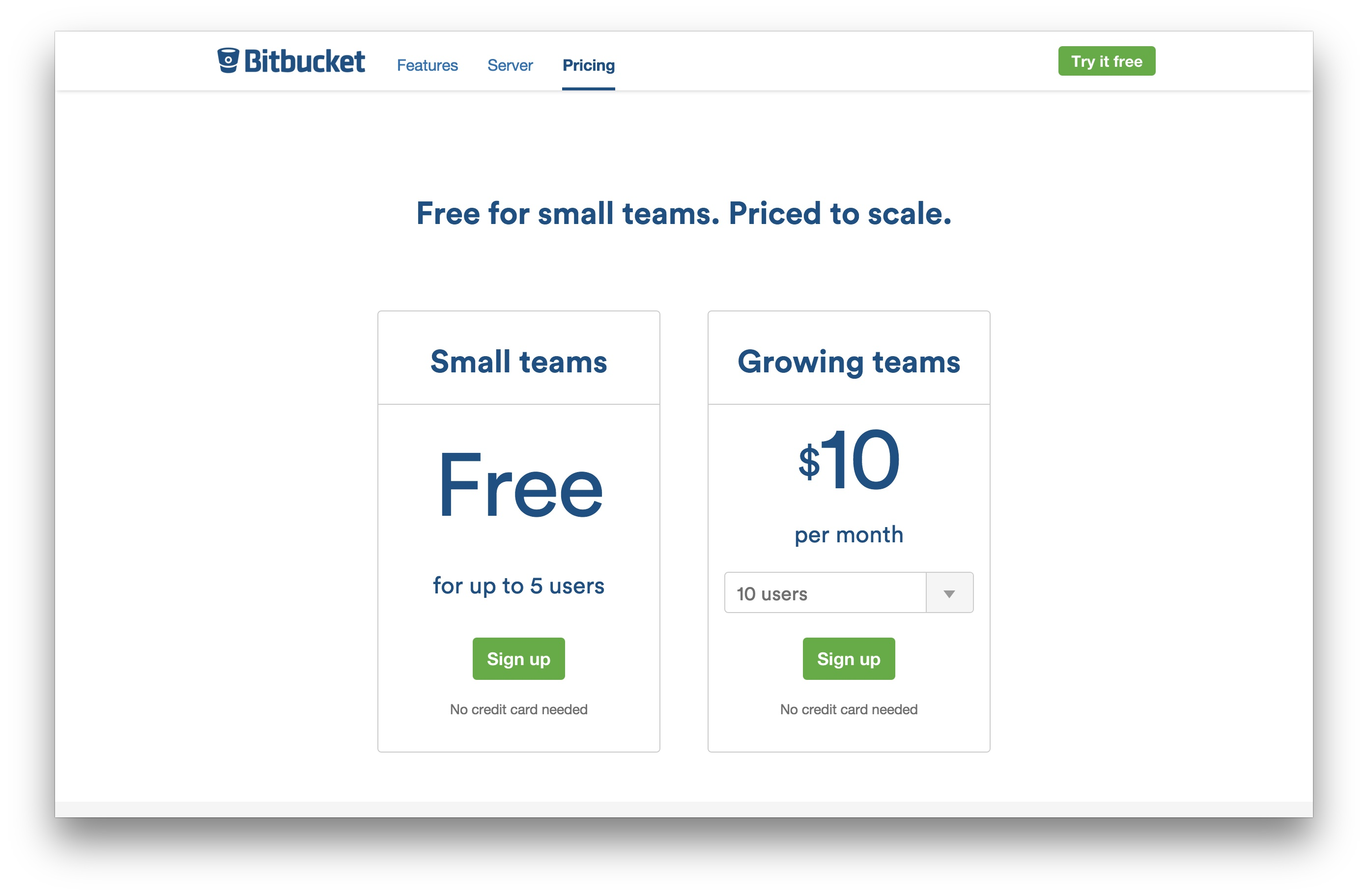 BitBucket pricing packages