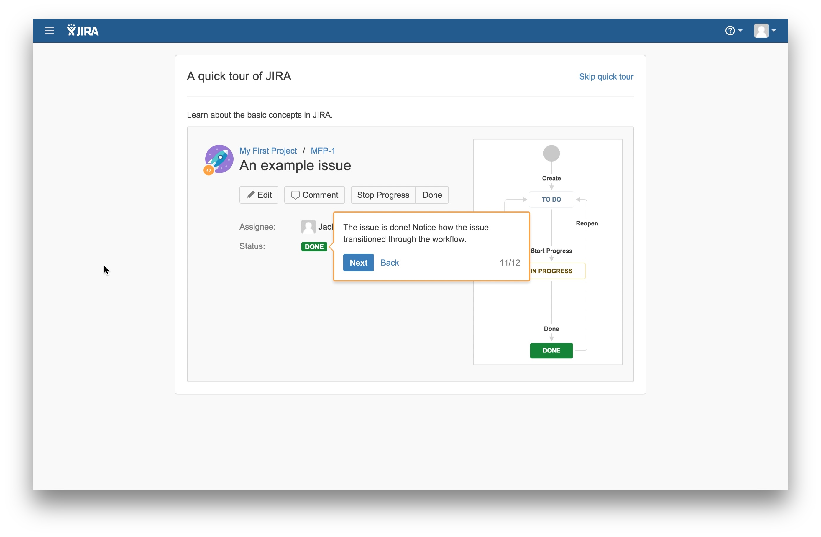 JIRA user onboarding tooltip 11