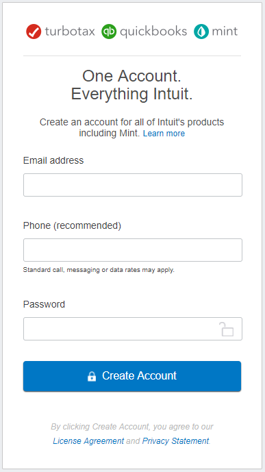 A screenshot of Intuit's log in screen without a single sign-on option