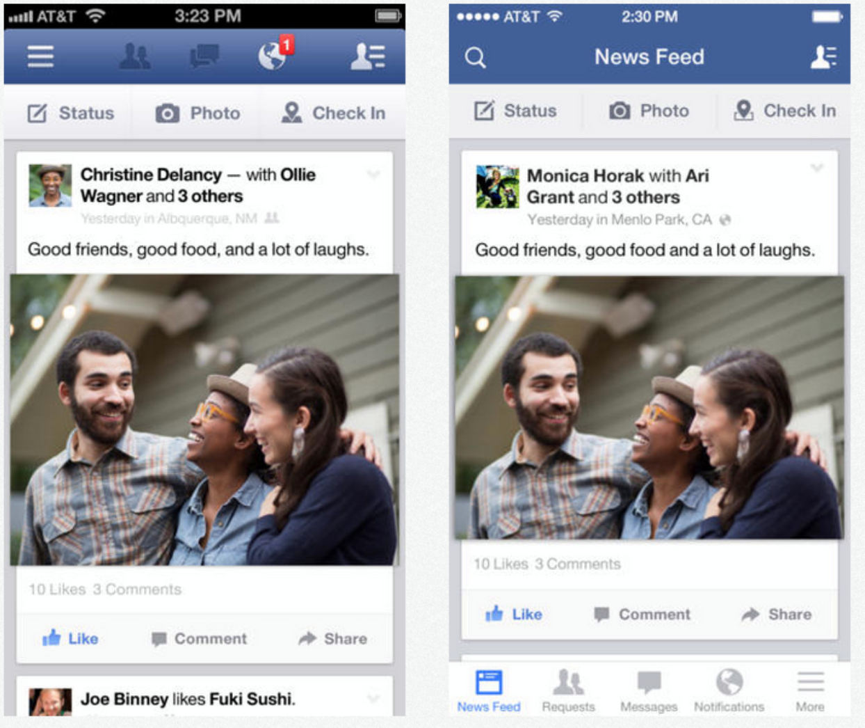 facebook mobile app redesign side by side comparison that shows a change from a hamburger menu icon to a bottom nav bar