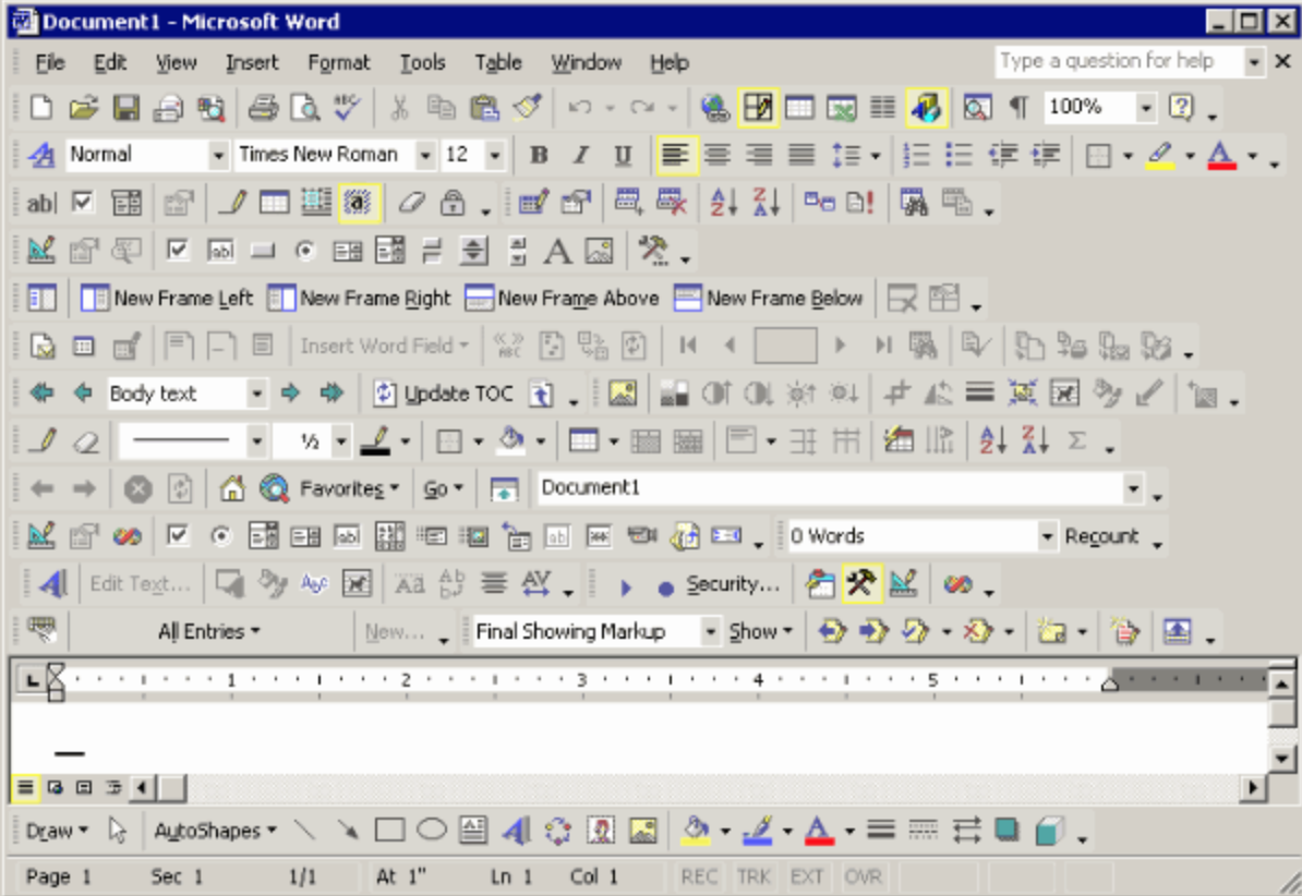 bad ux design example from microsoft word showing too many icons in a confusing toolbar