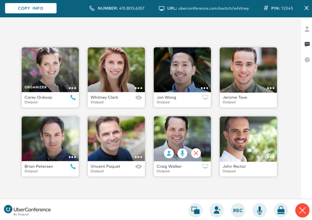 a screenshot of Dialpad's free version called uberconference