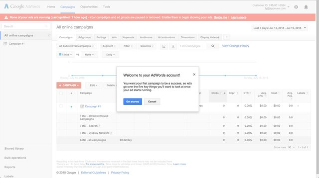 AdWords welcome modal window