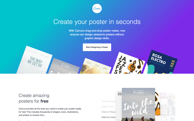 Canva poster landing page