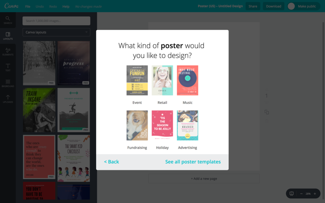 Canva's onboarding built with Appcues