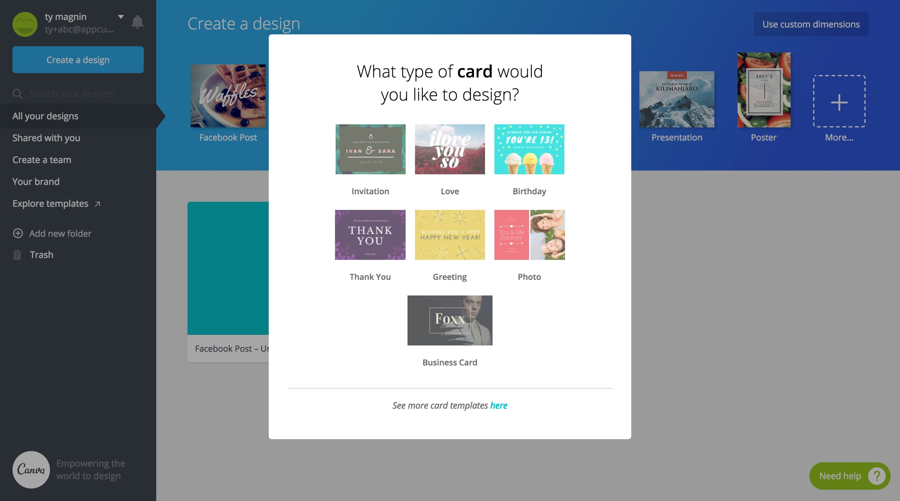 Canva card onboarding