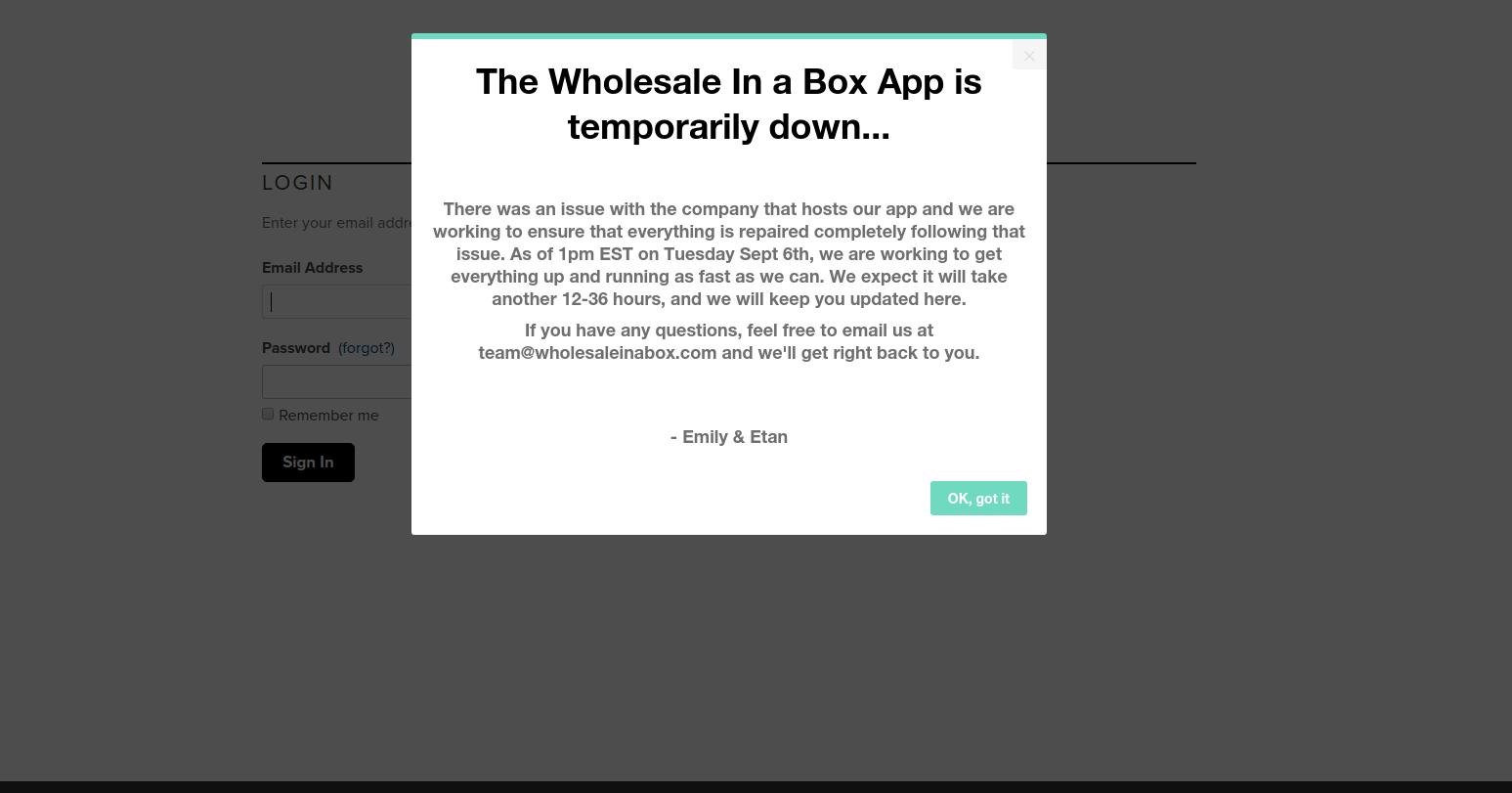 wholesale in a box maintanence modal window