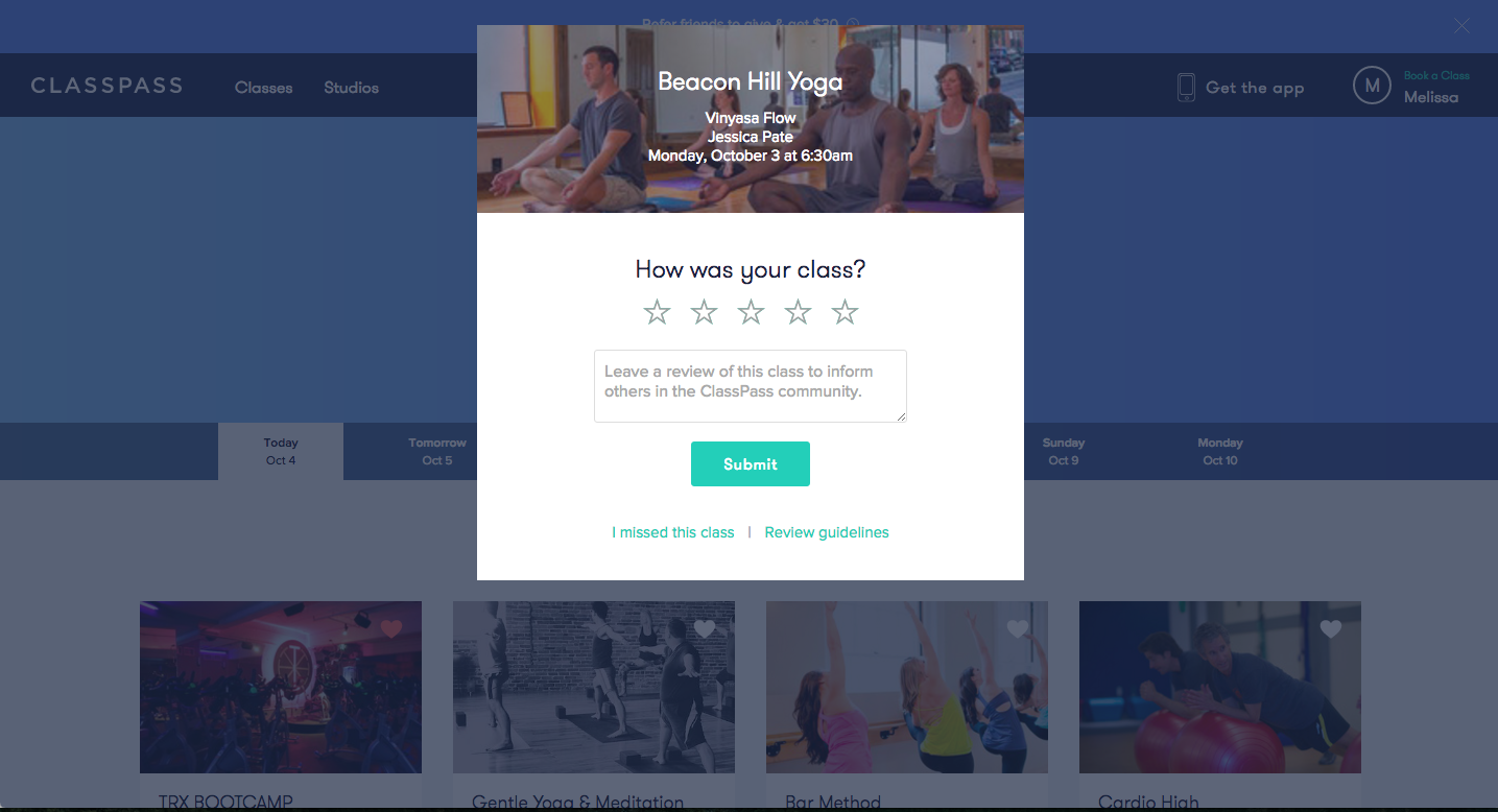 this is an image of a modal screen with review prompt from classpass's desktop app. in the image, a modal window asks users to rate their last yoga class and leave a review