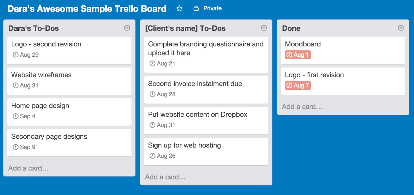 This is a sample trello board. It shows to-do lists and a list of  finished tasks. This is an example of a kanban board.