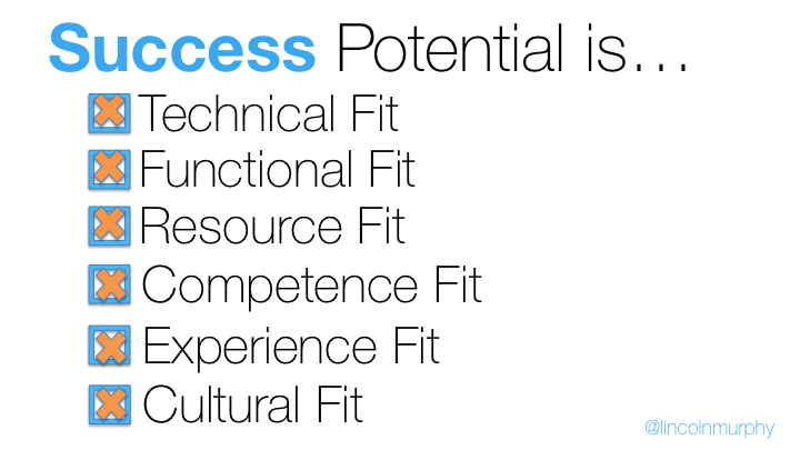 this is a slide about saas customer fit. It reads: success potential is: technical fit, functional fit, resource fit, competence fit, experience fit, cultural fit