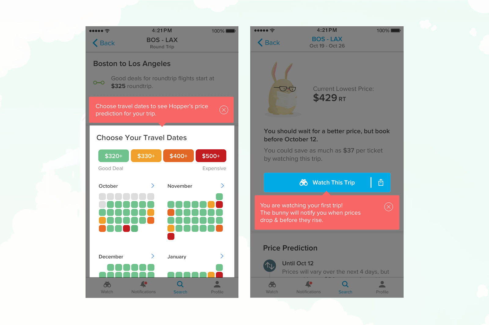 this is an example of mobile app tooltips from hopper. there are 2 screens side by side, showing how hopper app uses tooltips for user onboarding