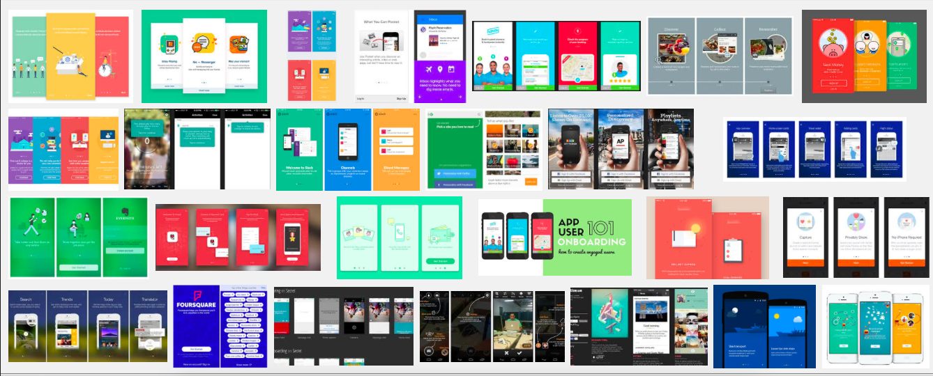 This is an image of many user onboarding and app onboarding tutorials with first screen from mobile apps. This is a compilation of many mobile app tutorial screens.