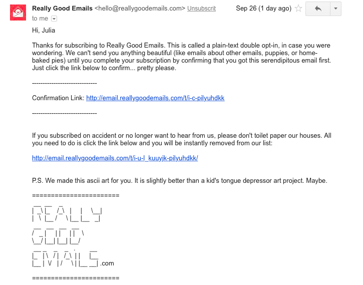 really good emails email confirmation