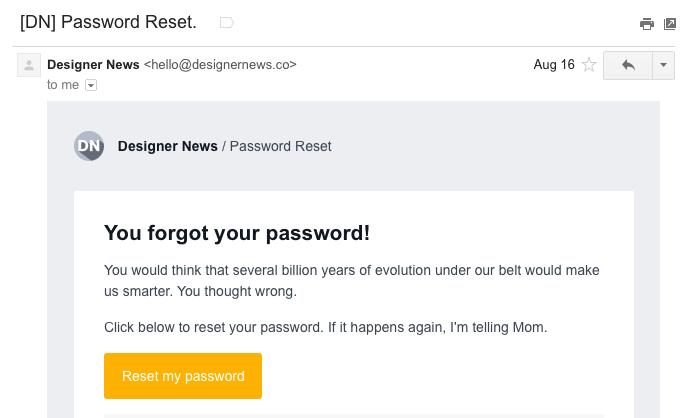 Designer News password reset email