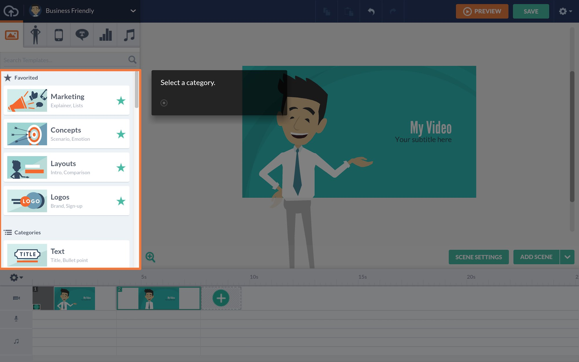Vyond animated video creator example onboarding UX. In-app tour UX example