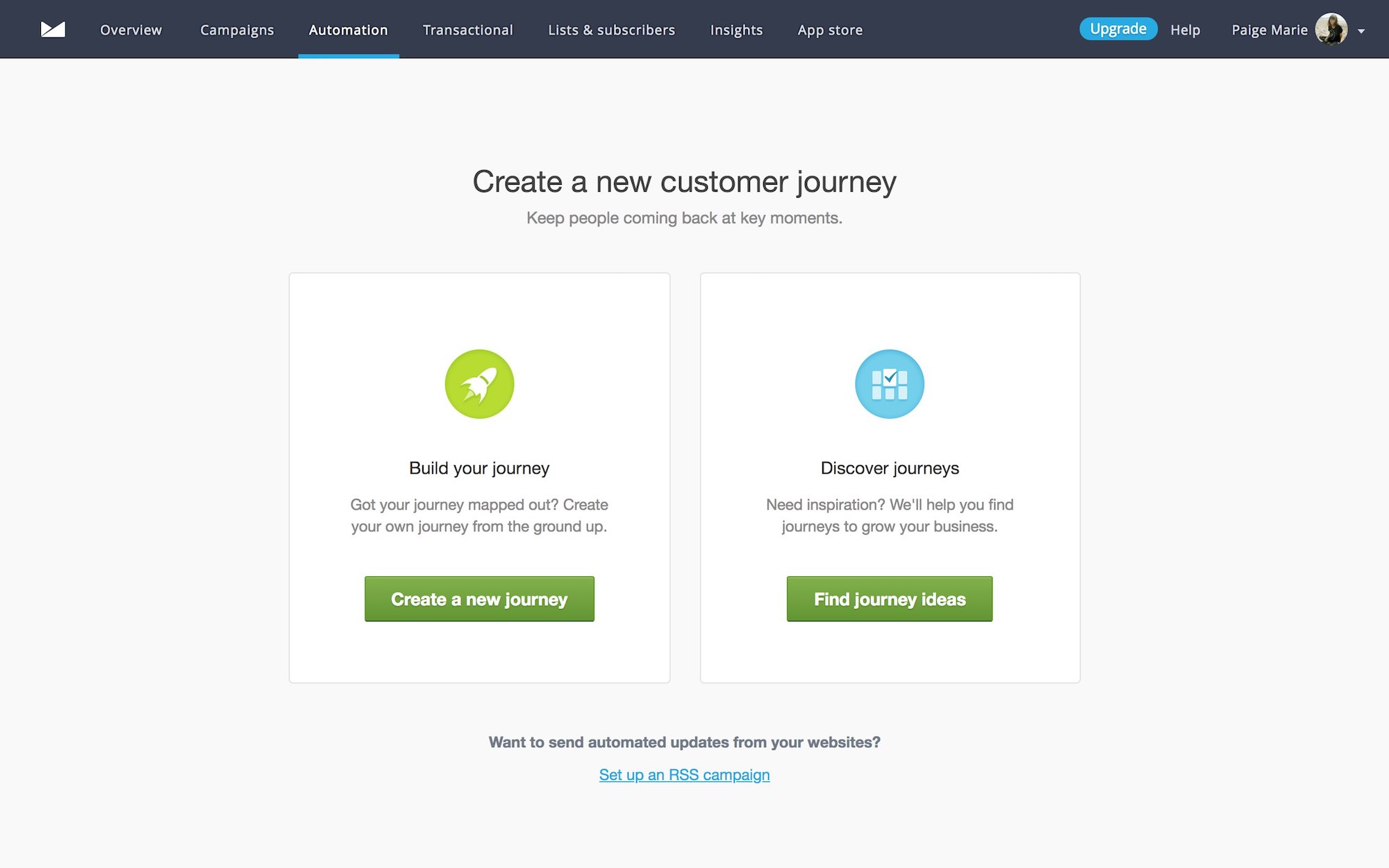 campaign monitor forked ux pattern example. User onboarding example with personalized onboarding flows