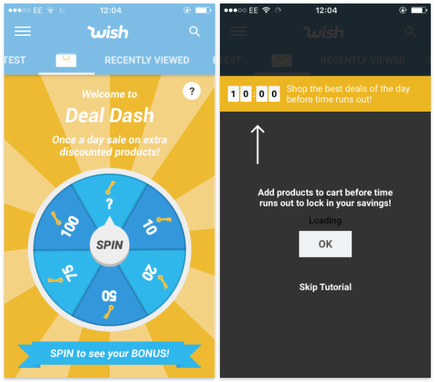this is an example of wish's gamification in its app.gamification example