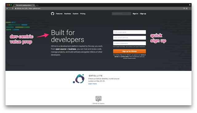 GitHub's landing page is developer-centric