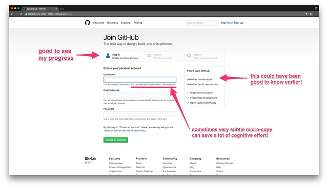 GitHub's onboarding sequence is visible to the user